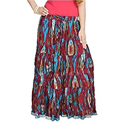 SHREEMANGALAMMART Ethnic Multi Floral Pure Cotton Skirt(Multi)(SMSKT562)