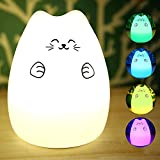 ELSKY Portable Silicone LED Multicolor Night Lamp, USB Rechargeable Children Night Light with Warm White & 7-Color Breathing Dual Light Modes, Sensitive Tap Control for Baby Adults Bedroom (Fortune)
