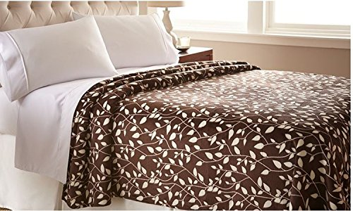 Elegant Comfort® The Best Ultra Super Soft Leaf Pattern Design Luxury Full/Queen Size Blanket, Chocolate/Ivory front-1001314