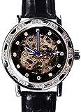[スワンユニオン] swanunion メンズ 新型3針 自動巻き 防水腕時計 オートマチッックウォッチ スチームパンク キラキラ輝くきらめきカットGlass[t214]