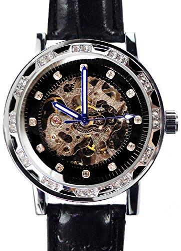 メンズ 新型3針 自動巻き 防水腕時計 オートマチッックウォッチ スチームパンク キラキラ輝くきらめきカットGlass[t214]