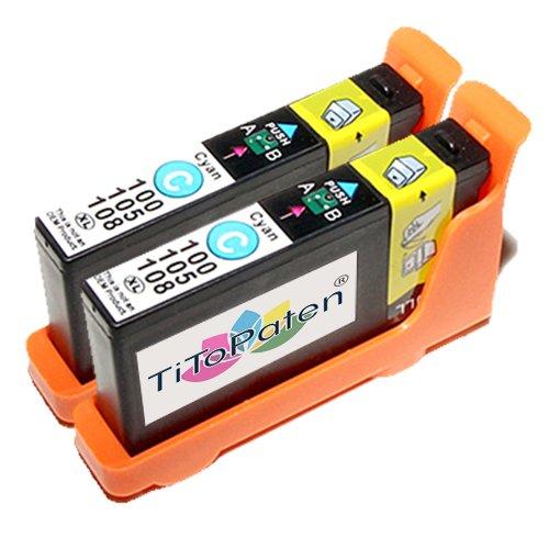 2x kompatible Druckerpatronen Lexmark 100 in Cyan für Drucker Lexmark Pinnacle Pro 901 Hohe Kapazität