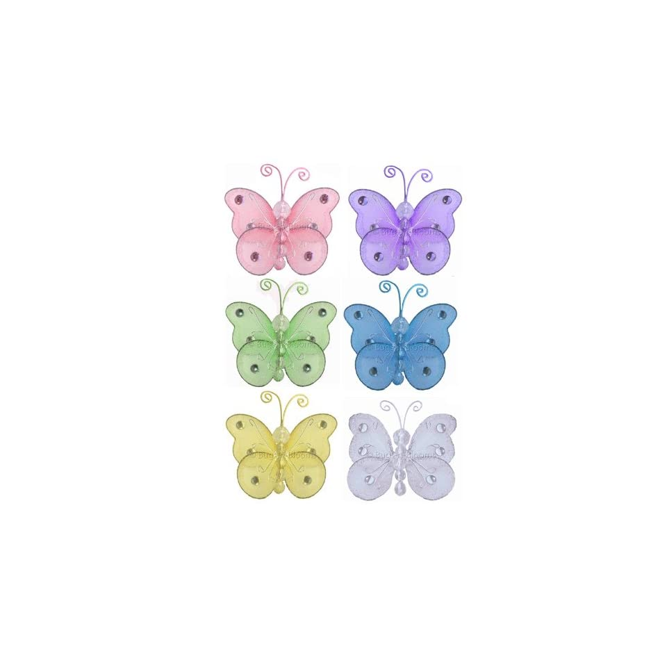 3 Assorted Mini (X Small) Wire Bead Butterfly Butterflies 6pc set (Purple, Pink, Yellow, Blue, Green and White)   hanging hanging nylon nursery bedroom girls room ceiling wall decor, wedding birthday party baby bridal shower room decorations