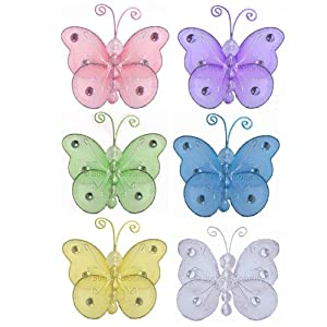 "Butterfly Decor 3"" Assorted Mini (X-Small) Wire Hanging Butterflies 6pc set (Purple, Pink, Yellow, Blue, Green and White) - Decorate Baby Nursery Bedroom Girls Room Ceiling Wall Decor Wedding Birthday Party Bridal Baby Shower. Decoration Crafts Parties"