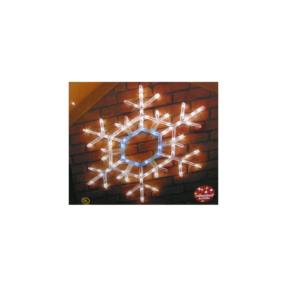 36 Inch Pre Lit Twinkling Folding Snowflake Christmas Yard Art