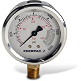 """Enerpac G2517L Hydraulic Pressure Gauge with Dual 0 to 6,000 PSI and 0 to 400 Bar Range, 2-1/2""""-Dia. Face, 1/4"""" NPTF Male, Lower-Mount Connection"""