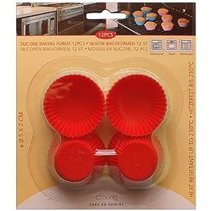 12 Stück Mini Muffin Kuchenformen rund Silikon, Backform - Muffinsförmchen, 1904 (rot)