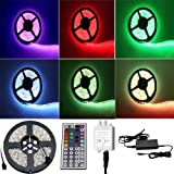 Besdata Celebration Lighting 16.4ft 5M Waterproof Rope Lights 300 LED 3528 SMD Color Changing RGB Flexible LED Strip Light + 12V 6A Power Supply + Remote + IR Controller - Muliticolored, PL709_US