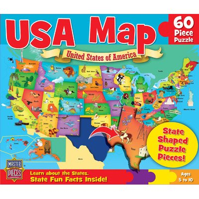 Masterpieces PuzzleCompany Usa Map Jigsaw Puzzle (60-Piece) front-120837