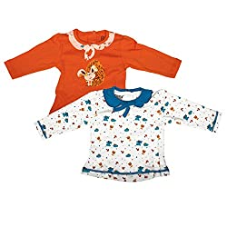 Mee Mee Baby Girls' Blouse (GKHJF19TOP_WHITE/ORANGE-6-9 MNTHS)