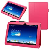 Evecase SlimBook Leather Folio Stand Case Cover for Asus Memo Pad 10 ( ME102A ) - 10.1 inch Android Tablet - Hot Pink