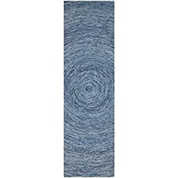 Safavieh Ikat Collection IKT633A Handmade Dark Blue and Multi Wool Runner, 2 feet 3 inches by 8 feet (2\'3\