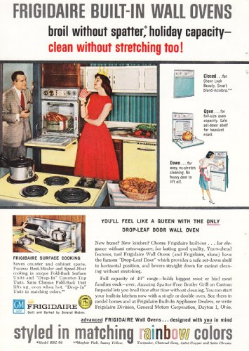 1959 Frigidaire Built-In Wall Ovens: Queen, Rainbow Colors, Frigidaire Print Ad