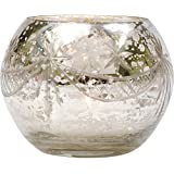 Luna Bazaar Candle Holder (3-Inch, Globe Design Design, Silver Mercury Glass) - For Home Decor and Wedding Decorations - For Use with Tea Light Candles