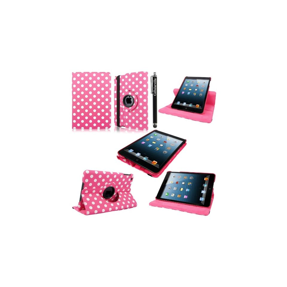 Cellularvilla Apple Ipad Mini 7.9 Pink White Polka Dot Pattern 360 Degree Rotating Flip Folio Case Cover with Auto Sleep/wake Feature Stand