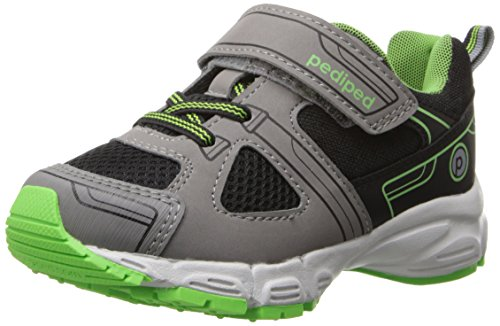 Pediped Mars Flex Running Shoe (Toddler/Little Kid),Black Lime,26 Eu (9-9.5 M Us Toddler) front-1042230