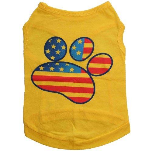 Artikelbild: Haustier Kleidung Gelb Hund Weste Süßer Hund Paw Bild bedruckt Hund Kleidung Kleine Hunde Kleidung Baumwolle Hund Kostüm (M)