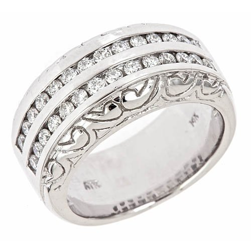 14k White Gold 2Row Diamond Wedding Anniversary Band Ring Antique Style (0.70 Cttw, VS Clarity, F Color)