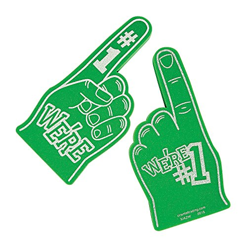 We're Number #1 Finger Team Color Cheerleading Foam Hand (Green) (Number One Finger compare prices)