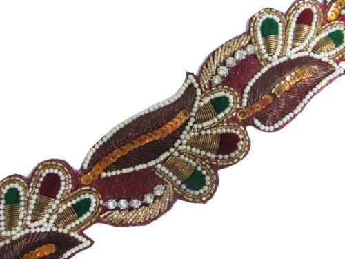 Maroon Hand Beaded Trim Ribbion Craft Lace India Sewing
