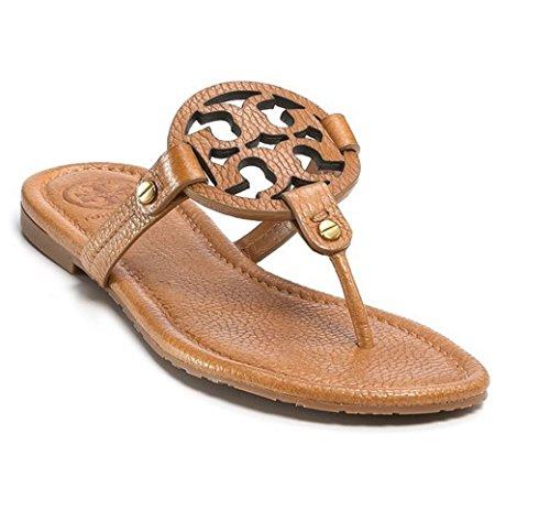 4809c550285141 Tory Burch Miller Metallic Sandal Womens In Royal Tan Tumbled Leather