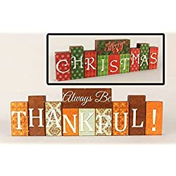 Youngs Fall Decor - Thanksgiving Christmas Reversible Wood Block Sign #86001