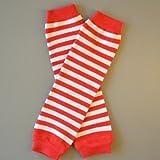 Rojo & Rayas blancas, bebé orgánico del algodón calentadores de piernas (Baby/Babe/Infant-Little Ones)