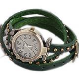 WLM Women Ladies Girls Green Slim Band Bracelet Design Leatheroid Quartz Wrist Watch Clock