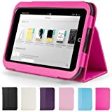 """GMYLE Hot Pink PU Leather Slim Folio Magnetic Flip Stand Case Cover with Sleep/ Wake Function for Barnes & Noble Nook HD 7"""" inches Tablet"""