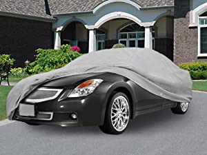 """SUPERIOR TRUE 100% WATERPROOF CAR COVER COVERS MID SIZE SEDAN - ALL SEASON PROTECTION - GRAY COLOR - 3x PILLOW SOFT INNER COTTON LAYER (FITS LENGTH 190"""" - 210"""") from Kapsco"""