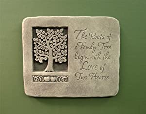 Cast Stone Expressions Collection - Roots Of Love Family Tree, Hearts Plaque - Anniversary, Wedding, Other Special Occasion Gift - Aged Stone Finish