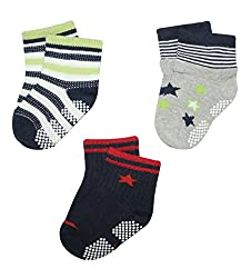 Wonderkids 3 Piece Printed Baby Socks - Grey, Light Green, Black