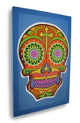 Pop Art Sugar Skull Canvas Print Blue/Red 17.75 X 11.75 In. by Things2Die4