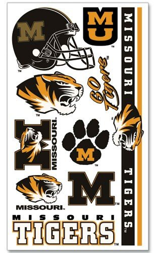 Missouri Tigers Temporary Tattoos Easily Removed With Household Rubbing Alcohol Or Baby Oil