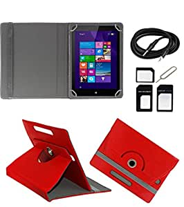 ECellStreet ROTATING 360° PU LEATHER FLIP CASE COVER FOR Zync Z81 7 INCH TABLET STAND COVER HOLDER - Red + Free AUX Cable + Free Sim Adapter Kit