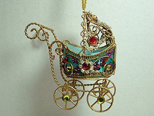 Blue Victorian Rhinestone Jeweled Baby Carriage Baby Shower Christmas Ornament front-662131