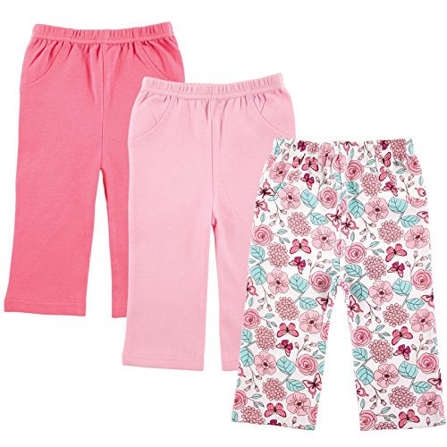 Luvable Friends 3-Pack Printed Pants, Pink Flowers, 0-3 Months