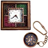 Little India Wooden Wall Clock and Brass Compass Keychain  (DL3COMB138)
