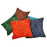 Ufc Mart Hand Embroidered Cotton Cushion Cover 5pc. Set, Color: Multi-Color, #Ufc00456