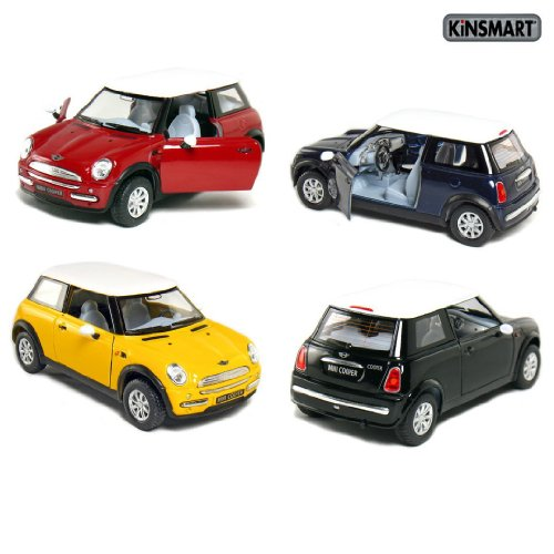 "Set Of 4: 5"" Mini Cooper 1:28 Scale (Blue/Black/Red/Yellow)"