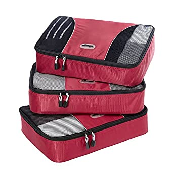 eBags Medium Packing Cubes - 3pc Set (Raspberry)