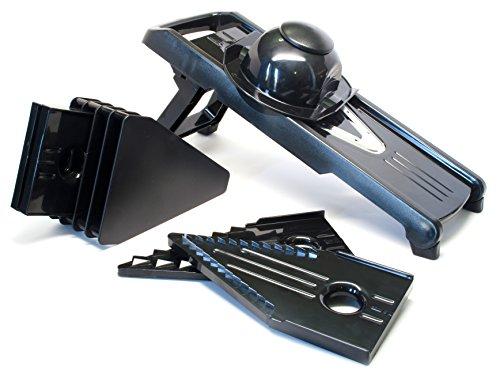 Professional Grade V-Blade Mandoline Vegetable Slicer with 5 Slicing Blade Options + FREE Blade Caddy