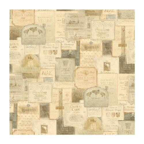 York Wallcoverings Europa Ii Wine Labels Prepasted Wallpaper, Cream/Tan/Gold/Silver front-496829