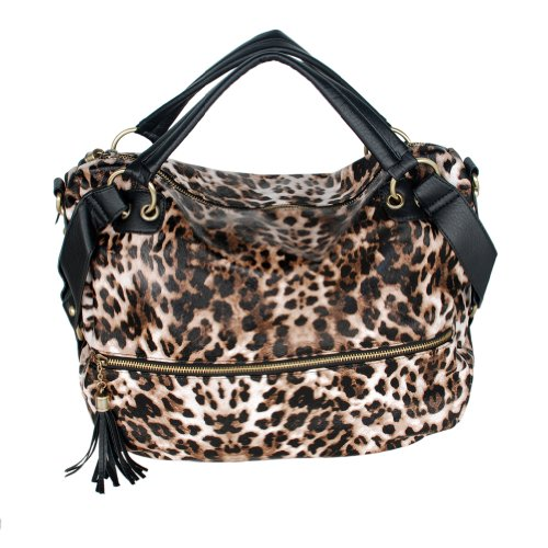 [Fashion Cool Tassels] Leopard LeatheretteDouble Handle Satchel Handbag w/Shoulder Strap
