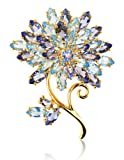 Gold Over Sterling Silver and Marquise-Cut Simulated Tanzanite Floral Brooch