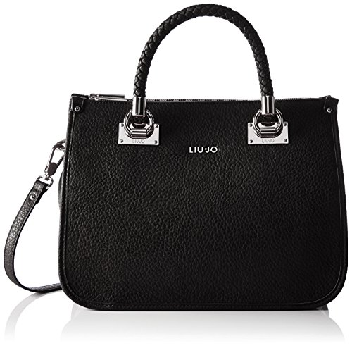 LIU JO ANNA SHOPPING BAG N66085E0011-A7560 Nero/gun metal