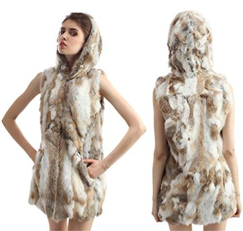 Women's Natural Brown Rabbit Fur Vest Real Fur Winter Jackets Hooded Outerwear (Fur Trim Hood Vest compare prices)