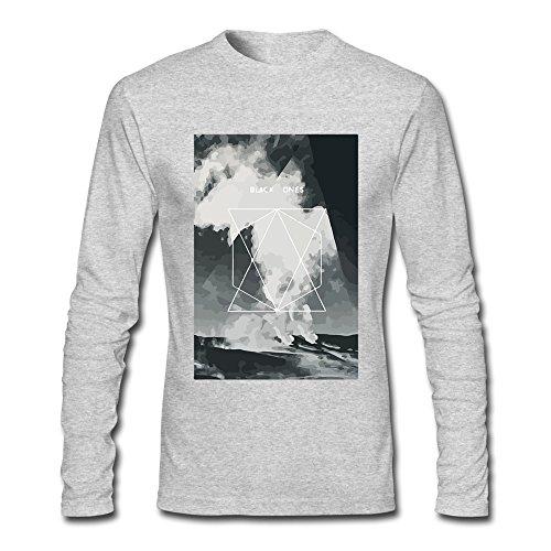 YLAUO Sky-Maglietta a maniche lunghe in cotone Grigio melange L