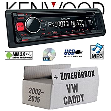 VW Caddy 2K - Kenwood KDC-100UR - CD/MP3/USB Android-Steuerung Autoradio - Einbauset