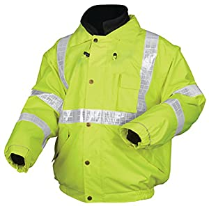 MCR Safety BPCL3LX3 Luminator Class 3 Insulated Polyester 4-in-1 Bomber Plus Jacket with Zip-in Fleece Liner and Detach Sleeves, Fluorescent Lime Green, 3X-Large